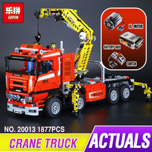 Lepin 20013 New 1877pcs Technic Ultimate Mechanical Series The Electric Crane Truck Set Building Blocks Bricks Funny Toys 8258