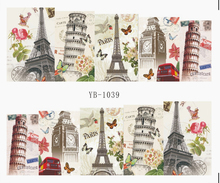 Nail Sticker Water Transfers Stickers Nail Decals LONDON BIG BEN PARIS ITALY TOWER MONROE YB1039-1044(China)