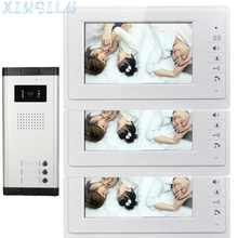 "Hot! Superior Quality 7"" Video Door Phone Wired Apartment Audio Visual Intercom Entry System IR Camera for 3 Families Mar9"
