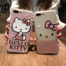New Cute Cartoon Hello kitty soft cover case for iphone 6s 7 coque For iphone 6 Plus 7 Plus capa fundas cases