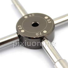 J233b DIY Steel Socket Wrench Cross Shaped Allen Wrench 4.0/5.5/7.0/8.0 Model Making Tools Portable Combination Wrench