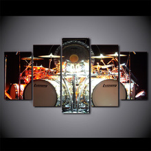 5 Pcs/Set Framed HD Printed Music Drums Kit Modern Wall Pictures Home Wall Decor Poster Canvas Painting