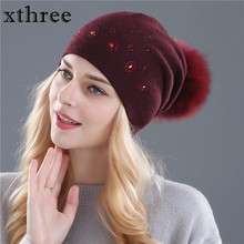 [Xthree] women winter beanies hat for women Shining Rhinestone Rabbit fur wool knitted hat the female of the mink pom pom hats