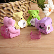 4pcs/lot Cute Cartoon Bear Backpack Pencil Eraser With Sharpener Korean Stationery Hot Sale 4 Colors Rubber Eraser Funny WZ
