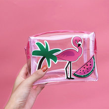 Summer flamingo transparent cosmetic bag 3pcs a pack watermelon coconut tree cartoon make up bags girl's organizer purse