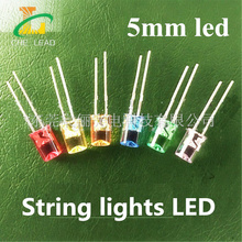 5MM led strip warm white/red/green/blue/yellow/white/orange Flat top Concave led water clear string light DIP LED beads(CE&Rosh)