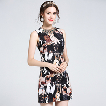 Newest 2017 Summer Bodycon Designer Dress Women's Sleeveless Tank Vintage Jacquard Doggie Printed Dress(China)