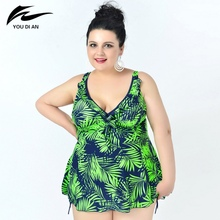 Plus beachwear new arrival leaf printed swimwear swimsuit for women summer dress plus size one bathing suit sexy 2017