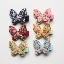 24pcs/lot Small Size Animals Hair Clips Pink Butterfly Hairpins Kids Handmade Girls Gift Colorful Cotton Barrettes Double Level(China)