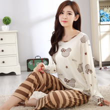 New Product Special Spring And Autumn Long Sleeve Pajamas Woman Youth Milk Silk Pure Cotton Sweet Home Furnishing Serve Suit