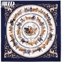 100*100cm New Arrival Royal Family Elegant Women Pure Silk Scarf Square Twill Horse Pattern Brand Luxury Silk Scarf Head Scarf(China)