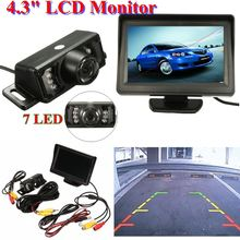 4.3 Inch TFT LCD Car Rear View Mirror Monitor Parking Rearview Monitor + 7 LED IR Lights Car Rear View Reverse Camera System Kit