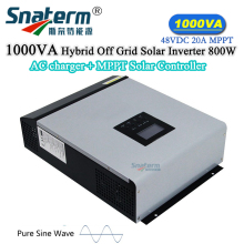 DC48V 1KVA Hybrid Solar PV Inverter Pure Sine wave with AC Charger Built-in MPPT 48VDC 20A Solar Charge Controller for Home Use