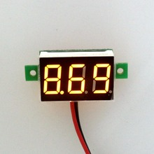20PCS/LOT Yellow Led display DC 2.5-30V car digital volt voltage panel meter gauge auto voltmeter battery monitor(China)