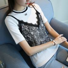 4614 - women's new slim lace ice linen short sleeve sweater 48
