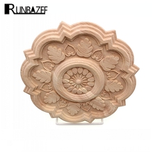RUNBAZEF Circular Carving Natural Wood Appliques Furniture Cabinet Unpainted Wooden Mouldings Decal Decorative Figurines Craft(China)