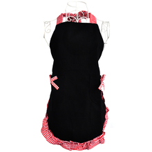 Lovely Princess Style Grid Pattern Falbala Kitchen Cooking Apron Women Ladies Apron with 2 Bowknot Pockets (Black)