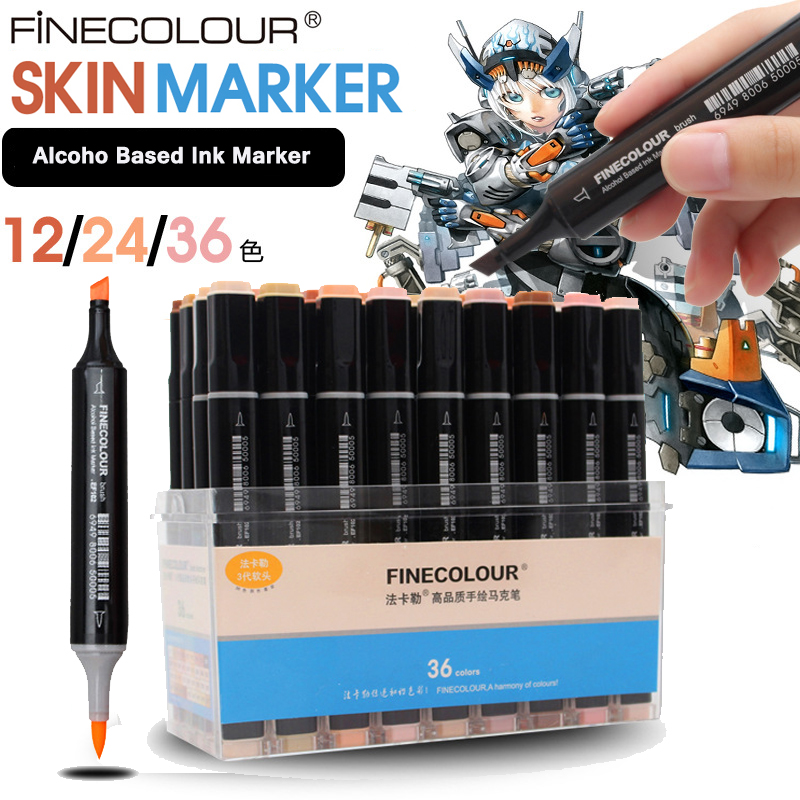 Finecolour 12 24 36 Color Dual Head Brush Painting Markers Pen Manga Colors Skin Tones Sketch Graphic Design with Box <br>