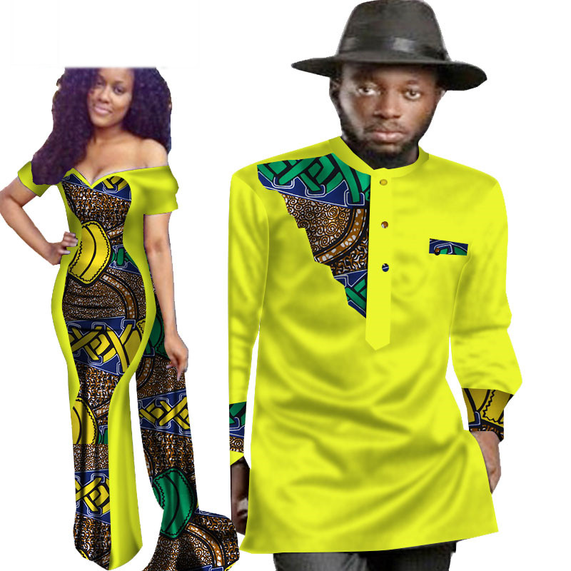 2 Piece Set African Dashiki Print Couple Clothing for Lovers Men's Shirt top Women Dress Party Wedding WYQ74