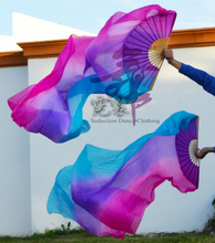 2016 High selling 100% Real Silk Veils 1 Pair handmade women Quality Silk Belly Dance Fan Dance turquoise purple rose 180*90 cm