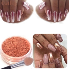 Drop Ship Women Sexy Rose Gold Nail Glitter Dust Mirror Metalic Nail Art Chrome Pigment Manicure 170524(China)