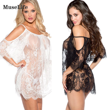 Buy Sexy lingerie women black white Exotic Apparel sexy costumes Eyelash lace leakage shoulder transparent sexy nightgown underwear
