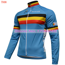 Winter Thermal Fleece or Thin New 2017 pro Belgium Team Long pro Black Cycling Jersey / Cycling Clothing Warmer JIASHUO Chooses(China)