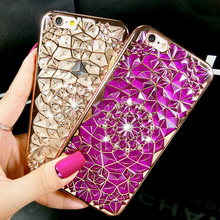 Luxury 3D Plating Flower Diamond Bling Glitter Phone Cases For iPhone 7 7Plus 6 S 6S Plus Soft Silicone Cover For Iphone 5 5S SE