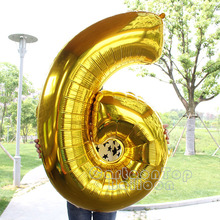 "Large 40""inch Gold/silver foil number balloons for birthday party ballon digit 0-9 helium globos anniversary Celebration balloon"