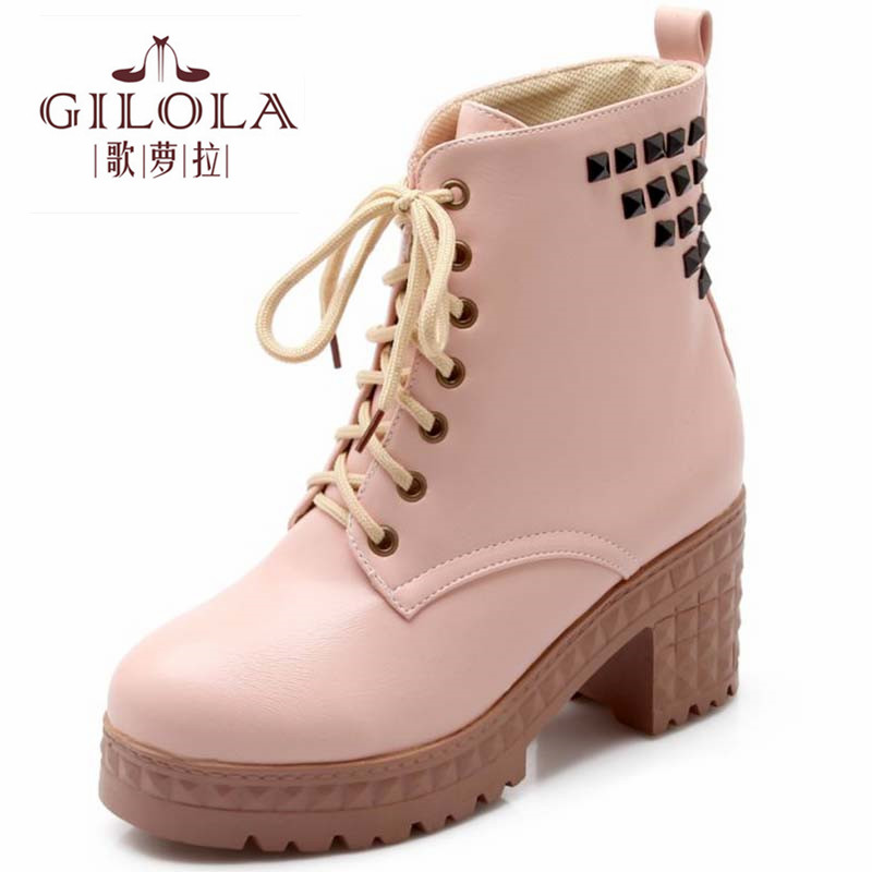 Size 34-43 new fashion ankle platform high heels Rivets snow women boots autumn boots womens winter shoes woman best #Y3221132F<br><br>Aliexpress