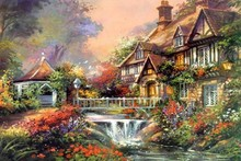 Thomas Kinkade oil painting poster fabric canvas wall poster print N0243(China)