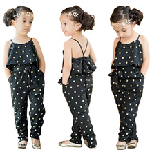 Summer 2016 Fashion Kids Baby Girls Summer Heart Pattern Jumpsuit Romper Trousers With Belt Outfits