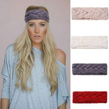 M MISM 2017 Girl Warm Knit Headbands Wool Crochet Turban Handmade Solid Wide Elastic Hair Bands Beauty Headwear Hair Accessories(China)
