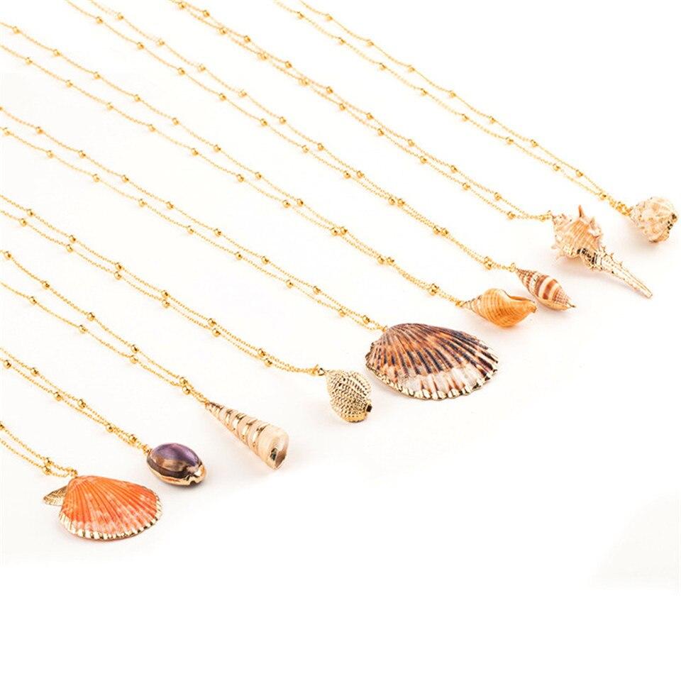 20 Styles Seashell Pendants Initial Necklace female Statement Jewlery Geometric Multix2dlayer Shells Choker Necklaces for Women (37)