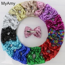 MyAmy EMS Free Shipping 400pcs/lot girls embroidered glitter hair bows WITH Alligator Clips hair sequin bows hair headwear(China)