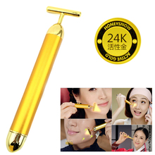 Slimming Face 24k Gold Vibration Facial Beauty Roller Massager Stick Lift Skin Tightening Wrinkle Stick Bar Face Skin Care(China)