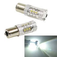 2Pcs 80W 1156 BA15S 16LED White Car Tail Turn Backup Reverse Light Bulb Lamp DC12V For Audi Benz Mazda