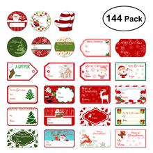 144 Christmas Self Adhesive Gift Tag Stickers Santa Snowmen Xmas Tree Deer Christmas Festival Decorative Presents Labels Decals(China)