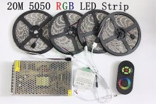 20M SMD 5050 RGB LED Strip Light 60Leds/M LED Flexible Tape Rope Lights+18A Wireless Touch Remote Controller+DC 12V Power Supply