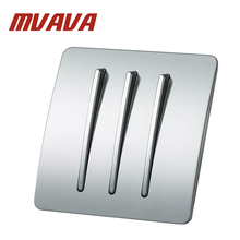 MVAVA Electric key Push Button Light Control Switch  3 Gang 2 Way 250V 220V Wall Switches  Luxury Polished 86*86 Size PC Panel