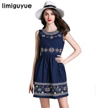 Summer dress Women sleeveless tunic vintage embroidery dress Elegant mini short dress boho people designer runway dress N366