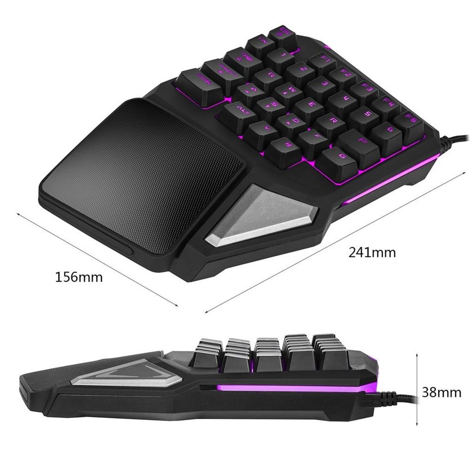 Delux  gaming keyboard T9 Pro  wired Professional gaming mini keyboard 7 Color  Backlit  Single Hand 30-keys Ergonomic Keypad