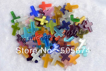 Cross Natural Cat Eye Gemstone Lampwork Pendant 96pcs Mixed Colors Delivery Free Shipping(China)