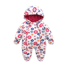 2017 fashion warm flower baby clothing , 6M-24M  Winter costume for girls clothes overalls for infants jackets  Park for girls