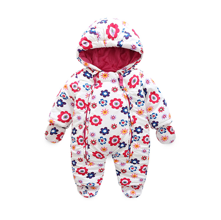2018 fashion warm flower baby clothing , 6M-24M  Winter costume for girls clothes overalls for infants jackets  Park for girls<br>