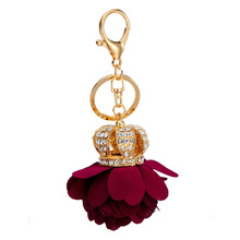 Packet pendant set auger crown PU flower accessories Key chain bags hang act the role of key chain