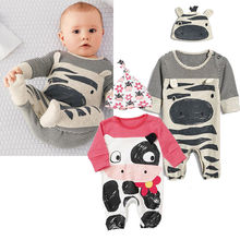2Pcs Baby Rompers Boys Girls Animal Printing Jumpsuits 2-Pieces Playsuits+cap  Jumpers Outfit with Cap