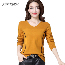 2017 High Quality Autumn Winter Brand Women's Sweater Female Stripe Jumper Knitted Cotton O-Neck Slim Casual Cashmere Pullover(China)