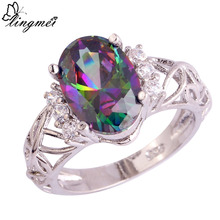 lingmei Wholesale Mystic Jewelry Rainbow & White CZ Silver Color Ring Size 6 7 8 9 10 11 Unisex Fashion Party Rings Free Ship(China)