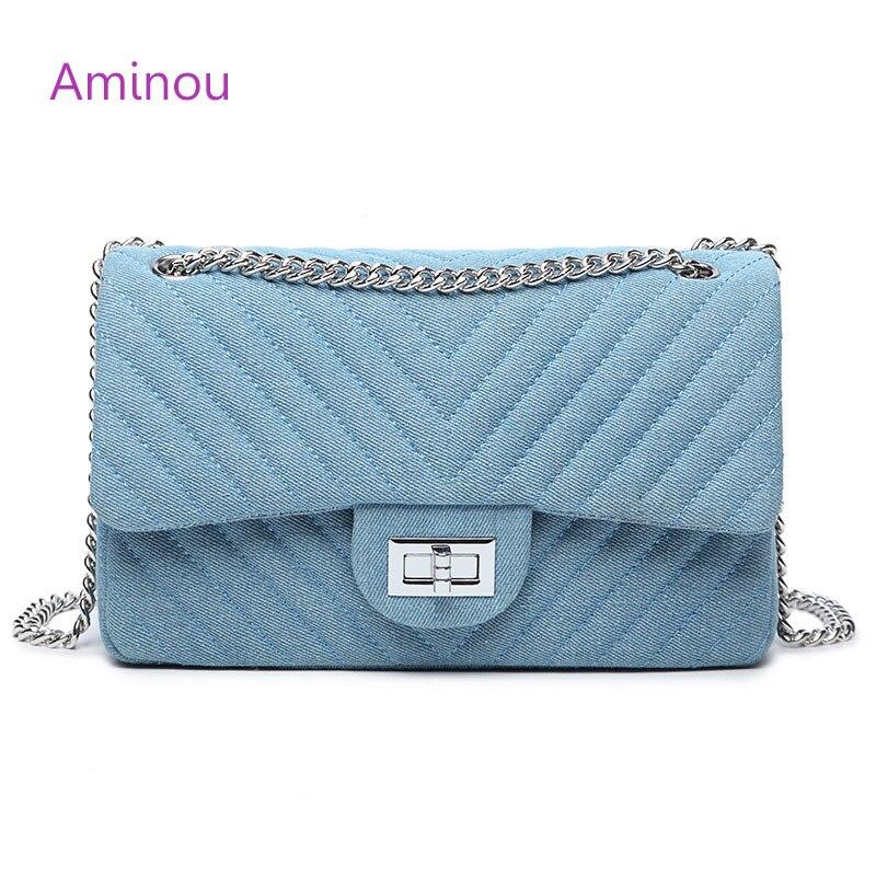 Aminou Women Designer Shoulder Bag Chains Flap Messenger Bags Ladies Diamond Lattice Denim Crossbody Bags For Girls Blue Handbag<br>